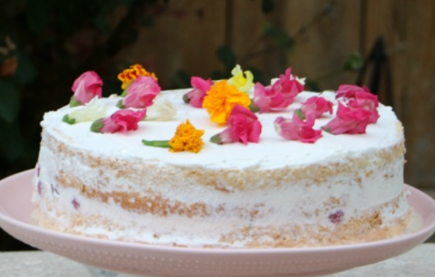 Naked Tres Leches Cake With Seasonal Berries And Edible Flowers